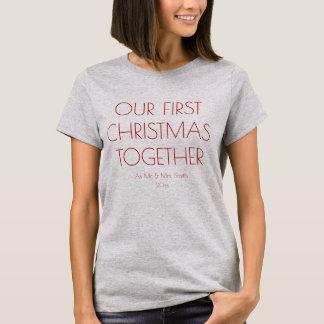 Camiseta Nosso primeiro Natal junto como o Sr. e a Sra.
