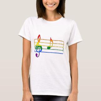 """Camiseta Nota musical do arco-íris """"A"""""""