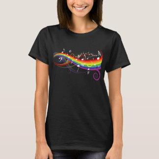 Camiseta Notas brancas da música do arco-íris no preto