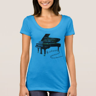 Camiseta Notas pretas do piano de cauda & da música do bebê