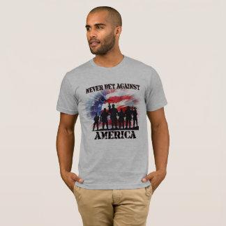 Camiseta Nunca aposte contra América legal e patriótica