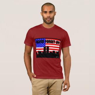 Camiseta nunca esqueça o VINHO CURTO da LUVA de 911 TSHIRT