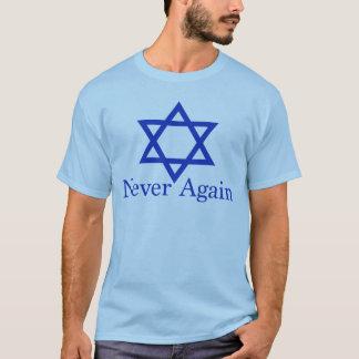 Camiseta Nunca outra vez relembrança judaica do holocausto