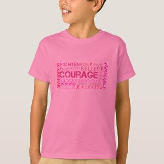 Camiseta Nuvem da palavra da coragem do cancro da mama