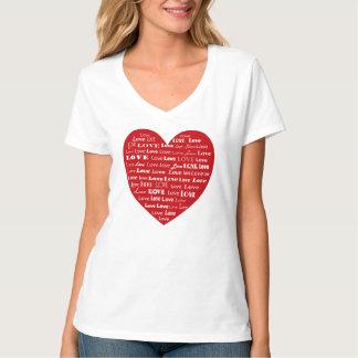 Camiseta Nuvem da palavra do coração do amor, branca em
