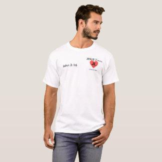 Camiseta O 3:16 branco Jesus de John ama o T