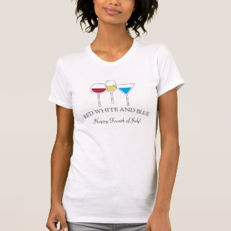 Camiseta O 4 de julho branco & azul vermelho