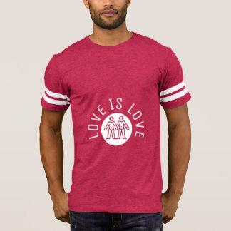 Camiseta O amor é branco cor-de-rosa do orgulho gay LGBT da