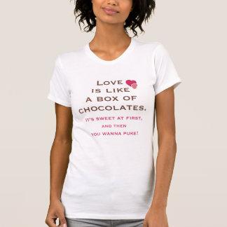 Camiseta O amor é como uma caixa do t-shirt dos chocolates