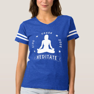 Camiseta O amor vivo do riso Meditate o texto fêmea