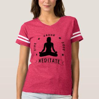 Camiseta O amor vivo do riso Meditate o texto fêmea (o