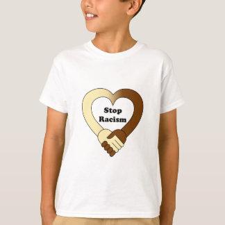 Camiseta O anti logotipo do aperto de mão do racismo caçoa