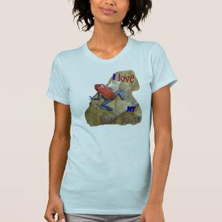 Camiseta O App das mulheres do sapo de calças de ganga.