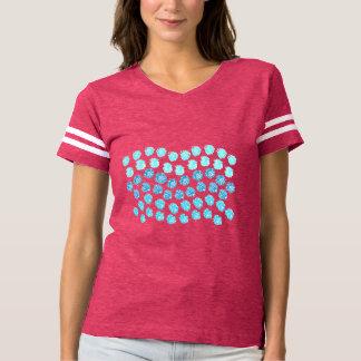 Camiseta O azul acena o t-shirt do futebol das mulheres