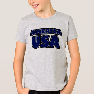 Camiseta O azul de América EUA rotula o t-shirt