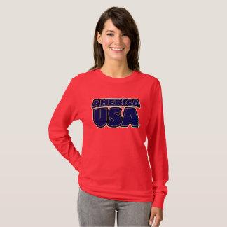 Camiseta O azul de América EUA rotula t-shirt