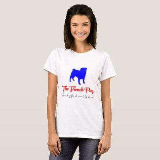Camiseta O azul e o vermelho franceses do Pug