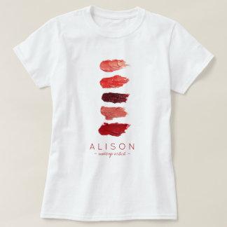 Camiseta O batom conhecido do maquilhador colore amostras