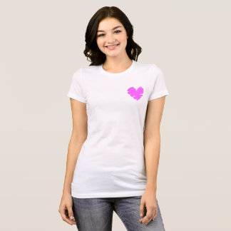 Camiseta O batom cor-de-rosa do coração lista o t-shirt