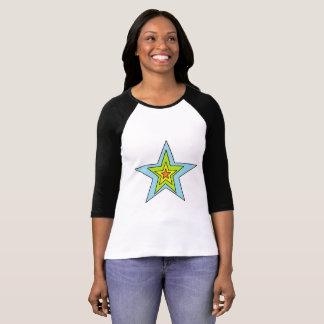 Camiseta O Bella das mulheres+T-shirt do Raglan da luva das