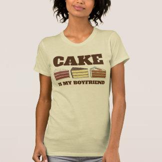 Camiseta O bolo é meu veludo do vermelho do amarelo da