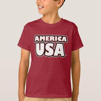 Camiseta O branco de América EUA rotula Miúdo-T-Camisas