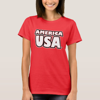 Camiseta O branco de América EUA rotula t-shirt