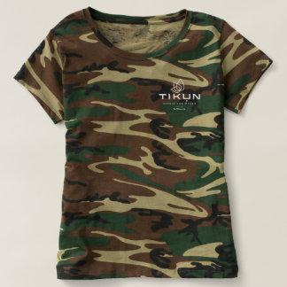 Camiseta O Camo T das mulheres do logotipo de Tikun