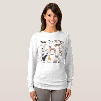 Camiseta O cão datilografa a cor completa etiquetada