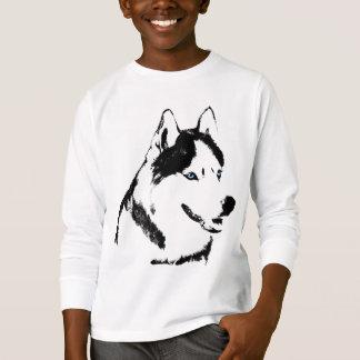 Camiseta O cão de trenó ronco do t-shirt do miúdo caçoa a