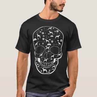 Camiseta O cão de Whippet no crânio Pets o Tshirt do amor