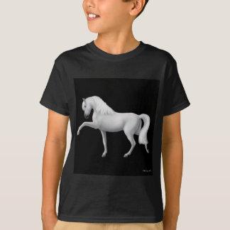 Camiseta O cavalo andaluz branco caçoa o t-shirt escuro