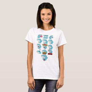 Camiseta O cheio de CarbonFin Emote o t-shirt da mulher