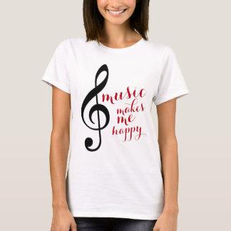 Camiseta o clef de triplo, música faz-me feliz