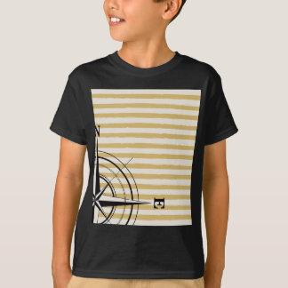 Camiseta O compasso náutico NSEW listra o preto do Taupe do