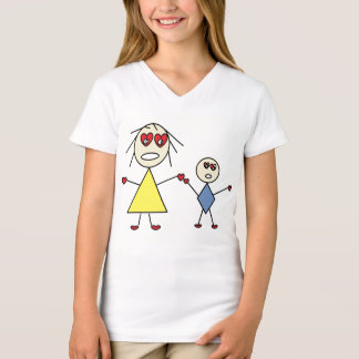 Camiseta O coração bonito Eyes a figura mamã e criança da