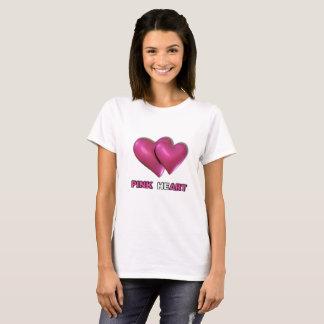 Camiseta O coração cor-de-rosa projeta o t-shirt branco