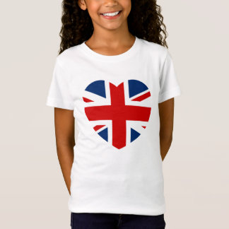 Camiseta O coração da bandeira de Union Jack dado forma