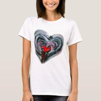 Camiseta O coração preto e vermelho T REDO