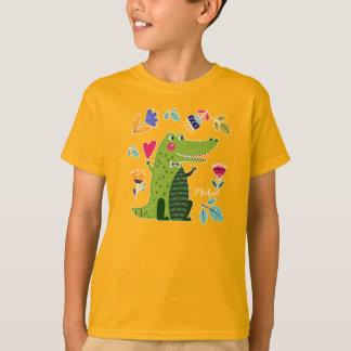 Camiseta O crocodilo engraçado com costume do coração caçoa