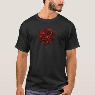 Camiseta O D&D CAOS preto e vermelho de d20 morre