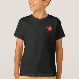 """Camiseta O design vermelho do bolso da """"estrela"""" da estrela"""