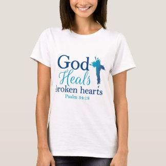 Camiseta O deus cura o 34:18 do salmo dos corações