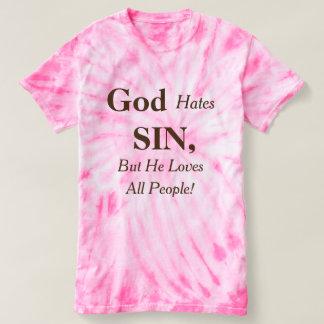 Camiseta O deus deia o pecado mas ama todas as pessoas