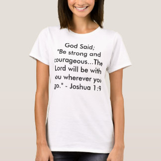 Camiseta O deus disse: T-shirt curto branco da luva do XL