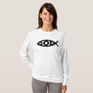 Camiseta O DEUS imprimiu dentro de um preto dos peixes…