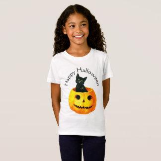 Camiseta O Dia das Bruxas antiquado, gato preto na abóbora