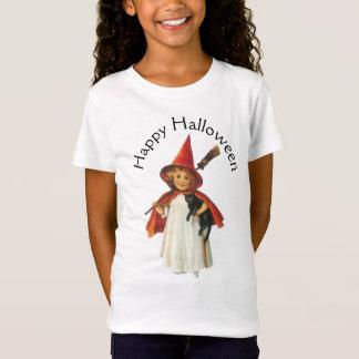 Camiseta O Dia das Bruxas antiquado, menina da bruxa com