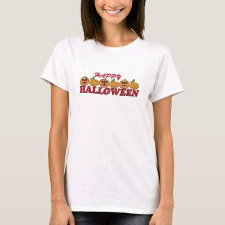 Camiseta O Dia das Bruxas feliz com fileira de lanternas de
