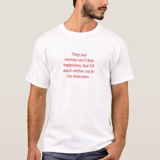 Camiseta O dinheiro não traz felicidade vermelho azul preto